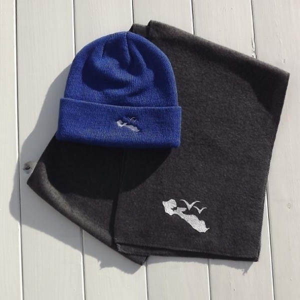 Pack Echarpe Gris + Bonnet Bleu by PE®